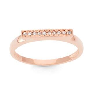 Gioelli 10k Rose Gold 1/10ct TDW Diamond Milgrain Ring