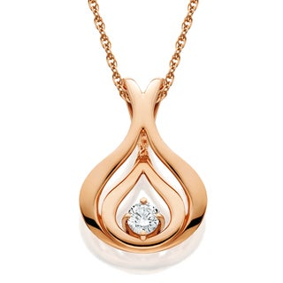 14K Rose Gold 1/ 10ct White or Blue Diamond Solitaire Pendant Necklace