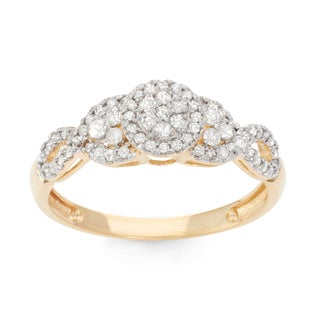 Gioelli 10k Yellow Gold 1/2ct TDW Diamond Pave Cluster Ring