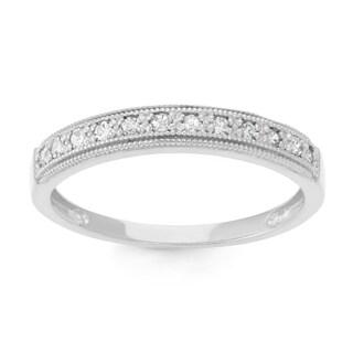 Gioelli 10k White Gold 1/5ct TDW Diamond Round Micro Pave Ring (H-I, I1-I2)