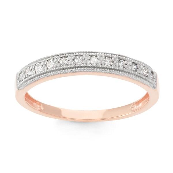 Gioelli 10k Rose Gold 1/5ct TDW Diamond Round Micro Pave Ring