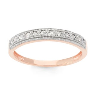 Gioelli 10k Rose Gold 1/5ct TDW Diamond Round Micro Pave Ring