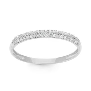 Gioelli 10k White Gold 1/5ct TDW Diamond Micro Pave Ring