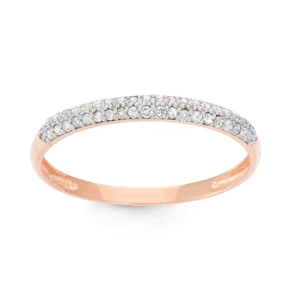 Gioelli 10k Rose Gold 1/5ct TDW Diamond Micro Pave Ring