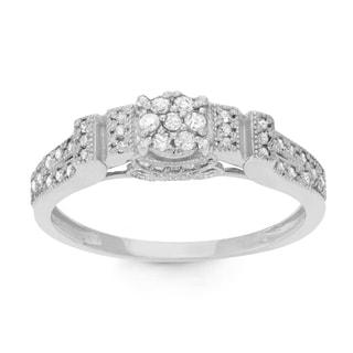 Gioelli 10k White Gold 1/3ct TDW Diamond Round-cut Designer Ring (H-I, I1-I2)