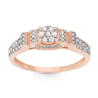 Gioelli 10k Rose Gold 1/3ct TDW Diamond Round-cut Designer Ring (H-I, I1-I2)