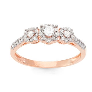 Gioelli 10k Rose Gold 2/5ct TDW Diamond Round-cut Pave Ring