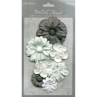 Bella Paper Florals 7/Pkg-Silver