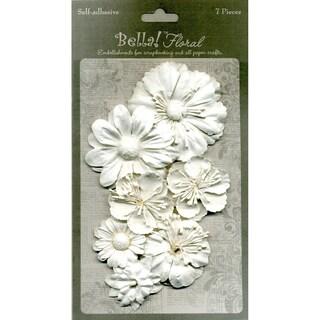 Bella Paper Florals 7/Pkg-White