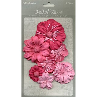 Bella Paper Florals 7/Pkg-Pink