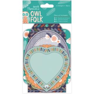 Papermania Owl Folk Die-Cut Notelets 18/Pkg