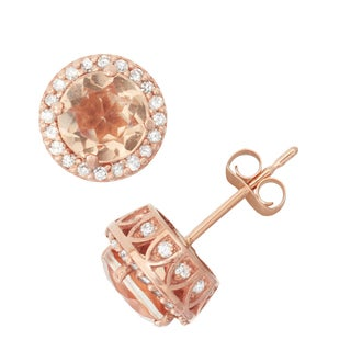 Gioelli 10k Rose Gold Morganite, Quartz and 1/3ct TDW Diamond Halo Stud Earrings (H-I, I1-I2)