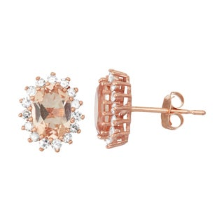 Gioelli 10k Rose Gold Morganite, Quartz and 1/3ct TDW Diamond Stud Floral Oval Stud Earrings (H