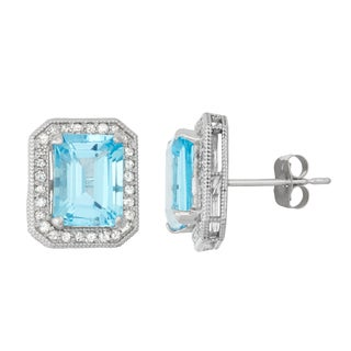 Gioelli  10k White Gold Swiss Blue Topaz 1/3ct TDW Diamond Square Radiant Stud Earrings (H-I, I1