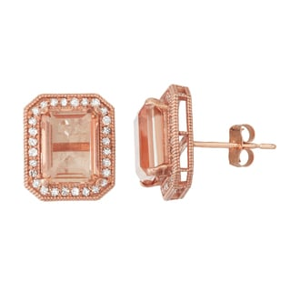 Gioelli  10k Rose Gold Quartz and 1/3ct TDW Diamond Square Radiant Stud Earrings