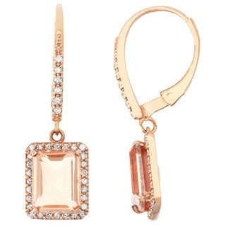Gioelli 10k Rose Gold, Quartz and 3/8ct TDW Diamond Radiant Square Leverback Earrings