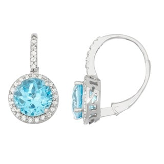 Gioelli 10k White Gold Swiss Blue Topaz 1/4ct TDW Diamond Circle Leverback Earrings (H-I, I1-I2
