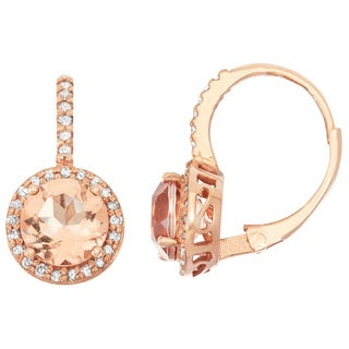 Gioelli 10k Rose Gold Morganite Quartz and 1/4ct TDW Diamond Circle Leverback Earrings (H-I, I