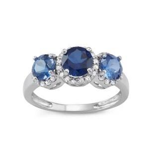 Gioelli 10k White Gold Created Sapphire 1/4ct TDW Diamond Three Stone Ring (H-I, I1-I2)