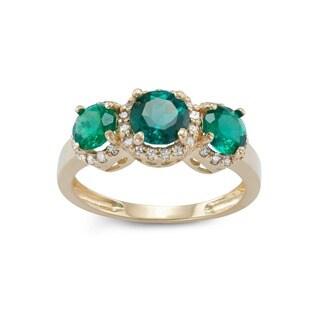 Gioelli 10k Yellow Gold Created Emerald 1/4ct TDW Diamond Three Stone Ring (H-I, I1-I2)