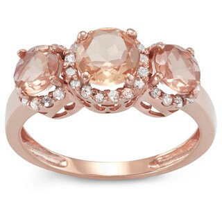 Gioelli 10k Rose Gold Morganite, Quartz and 1/4ct TDW Diamond Three Stone Ring (H-I, I1-I2)