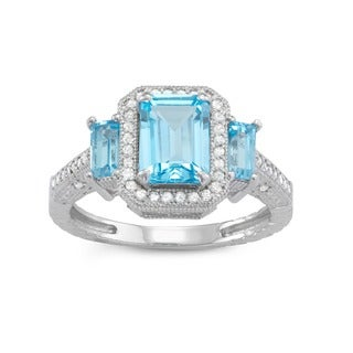 Gioelli 10k White Gold Swiss Blue Topaz 1/4ct TDW Diamond Emerald Designer Ring (H-I, I1-I2)