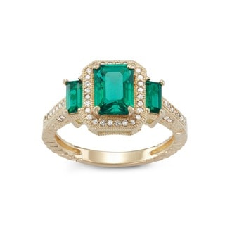 Gioelli 10k Yellow Gold Created Emerald 1/4ct TDW Diamond Emerald Designer Ring (H-I, I1-I2)