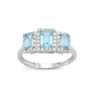 Gioelli 10k White Gold Swiss Blue Topaz 3/8ct TDW Diamond Radiant Emerald Ring (H-I, I1-I2)