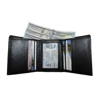 Continental Leather Men's Trifold Wallet with Outside Window ID