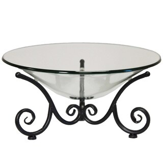 Decorative Iron Scroll Stand with Round Glass Bowl