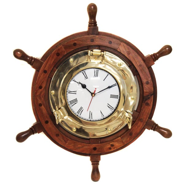 Nautical Ship Wheel Brass Porthole Wall Clock