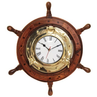 Nautical Ship Wheel Brass Porthole Wall Clock