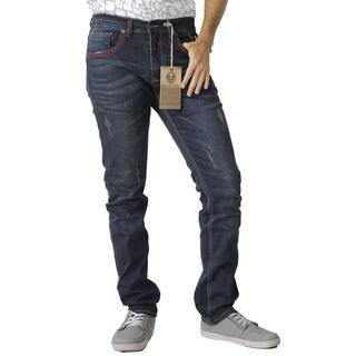 The United Freedom MEN'S RED STITCHING POCKET JEAN IN STRETCH DENIM, SLIM FIT