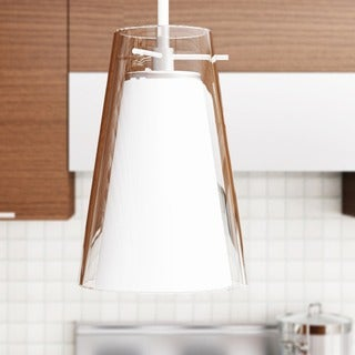 Vonn Lighting Kuma 7-inch LED Pendant with White Glass and Clear Glass Shades