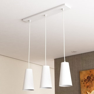 VONN Lighting Gatria 11 x 6 inches LED Pendant Lights with White Glass Shades, Adjustable Hanging Triple Pendant