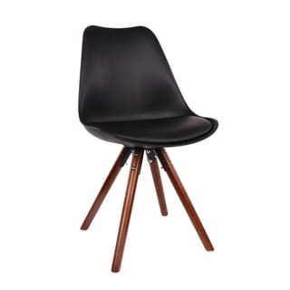 Viborg Mid Century Black Side Chair with Walnut Wood Base (Set of 2)