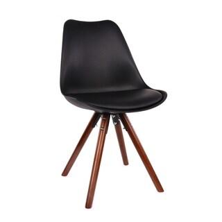 Viborg Black Mid Century Side Chair Walnut Base (Set of 2)