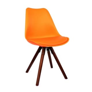 Viborg Mid Century Orange Side Chair with Walnut Base (Set of 2)