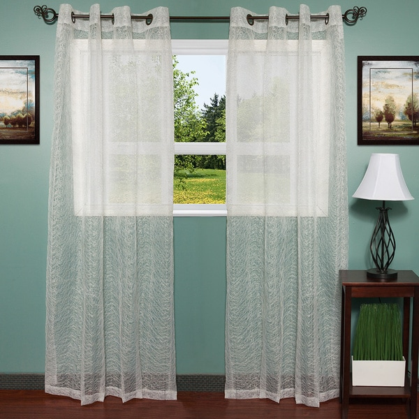 Shop Shimmering Sheer Embroidered 54 X 84 Grommet Curtain