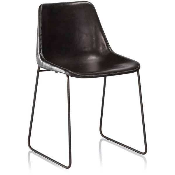 Hudson Black Leather Dining Chair Free Shipping Today