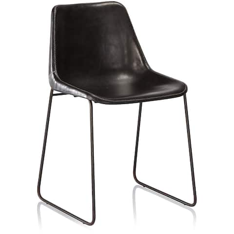 Carbon Loft Bode Black Leather Dining Chair