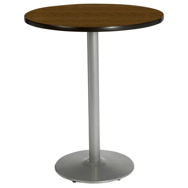 shop kfi 42 inch round bar height pedestal table round silver base free shipping today. Black Bedroom Furniture Sets. Home Design Ideas