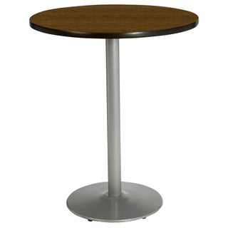 42 Inch Round Bar Height Pedestal Table - Round Silver Base
