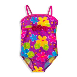Jump'N Splash Small Girls Purple Hibiscus One-Piece Swimsuit