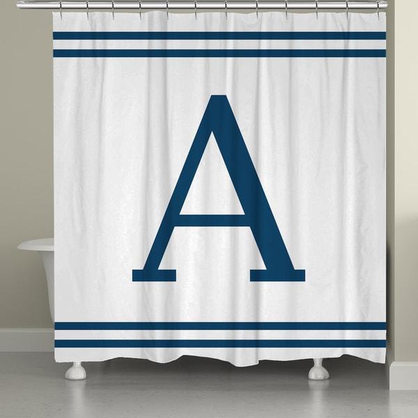 Laural Home Blue Monogram Shower Curtain