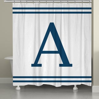 Laural Home Blue Monogram Shower Curtain
