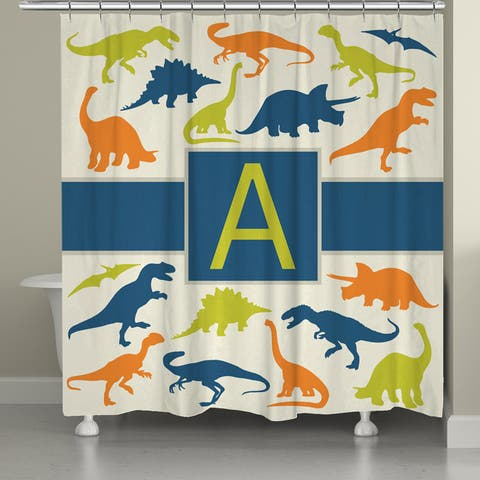 Laural Home Dinosaurs Monogram Shower Curtain
