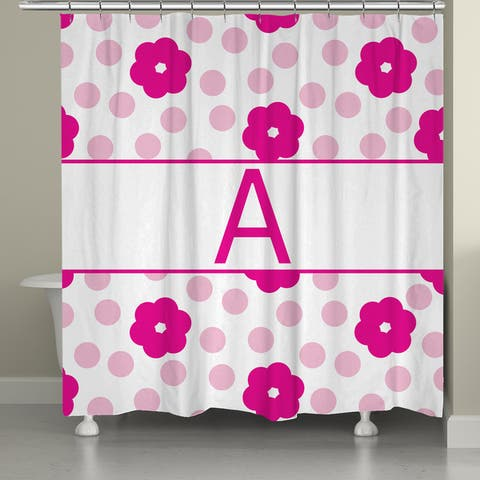 Laural Home Flowers and Polk-Dot Monogram Shower Curtain