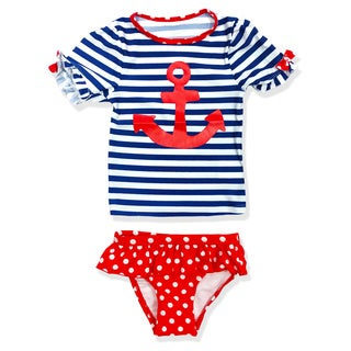 Jump'N Splash Small Girls Navy Girl Rash Guard Set
