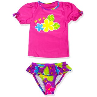 Jump'N Splash Small Girls Purple Hibiscus Rash Guard Set